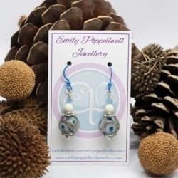 Simply elegant blue, grey and white Artisan Glass Earrings with Blue Enamel Coated hooks