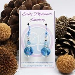 Simply elegant clear blue Artisan Glass Earrings with Blue Enamel Coated hooks