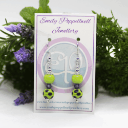 """""""Doubles"""" – Artisan Glass bead earrings – Green with purple dots and purple Swarovski crystal beads"""