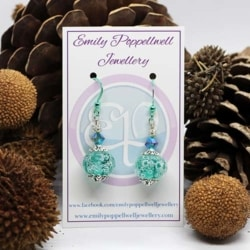 Simply elegant Green bubbles Artisan Glass Earrings with Green Enamel Coated hooks