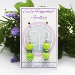 """Doubles"" – Artisan Glass bead earrings – green and green swirls doubles"