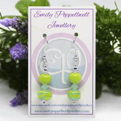 "'Doubles"" – Artisan Glass bead earrings – Light Aqua, green swirls and green crystal beads doubles"