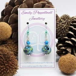 Simply elegant Blue and Green patterned Artisan Glass Earrings with Green Enamel Coated hooks