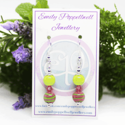 """""""Doubles"""" – Artisan Glass bead earrings – pink and green stripes, pink Swarovski crystal and green bead doubles"""