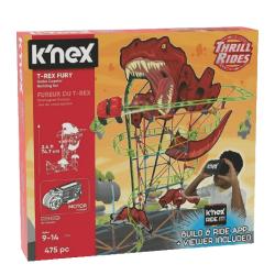 K'nex Thrill Rides – T-Rex Fury Roller Coaster – motorised building set with VR