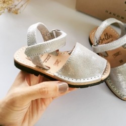 Silver Shimmer Leather Mini Avarcas