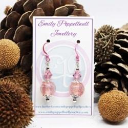 Simply elegant pink shimmer Artisan Glass Earrings with pink Enamel Coated hooks