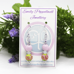 """""""Doubles"""" – Artisan Glass bead earrings – pink and green pattern, white cloudy Swarovski crystal and pink bead doubles"""