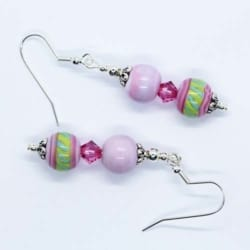 """""""Doubles"""" – Artisan Glass bead earrings – pink and green pattern, pink Swarovski crystal and pink bead doubles"""