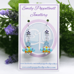 """""""Octopussi"""" – Artisan Glass bead earrings – blue and purple multi coloured glass bead with blue Swarovski crystal bead"""