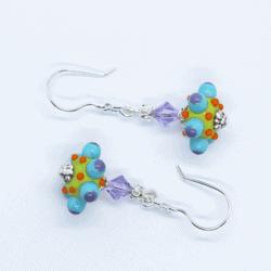 """Octopussi"" – Artisan Glass bead earrings – blue and purple multi coloured glass bead with purple Swarovski crystal bead"