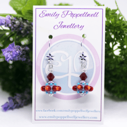 """""""Octopussi"""" – Artisan Glass bead earrings – red and orange multi coloured glass bead with deep red Swarovski crystal bead"""