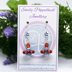 """Octopussi"" – Artisan Glass bead earrings – red and orange multi coloured glass bead with burnt orange Swarovski crystal bead"