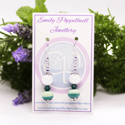 """""""Doubles"""" – Artisan Glass bead earrings – White and green pattern, dark green Swarovski crystal and white beads"""