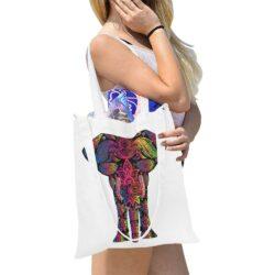 Multi Coloured Elephant Canvas Tote Bag