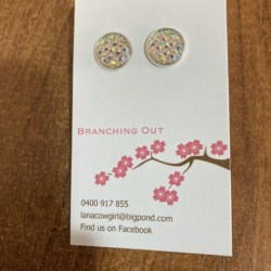 Sparkles White Pink & Mauve Glitter Stud Earrings