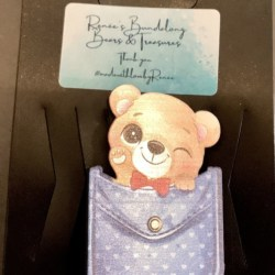 Cute Baby Bear with Bow Tie in a Pocket Brooches / Pins / Embellishments