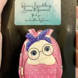 Cute Kitten with a Blue Bow and Glasses in a Pink Backpack Brooches / Pins / Embellishments