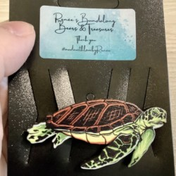Realistic Brown Shell Green Turtle Brooches / Pins / Embellishments
