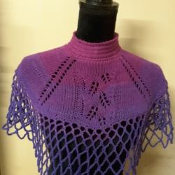 Handknitted shoulder warmer /cape in shades of pink and purple