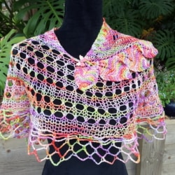 Handknitted lacey spring/summer shawl/ wrap