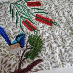Fairy wren in the bottlebrush, mug rug