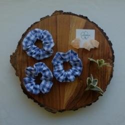 Blue & White Gingham Scrunchie