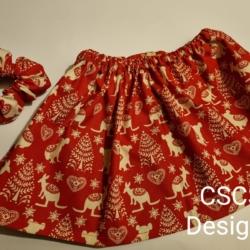 Christmas Girls Skirt & Scrunchie Set – Design 2