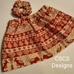 Christmas Girls Skirt & Scrunchie Set – Design 1