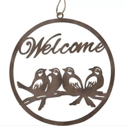 WELCOME SIGN WITH BIRDS ROUND