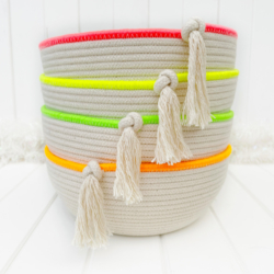 Fluoro edged coiled rope bowl using Australian made cotton rope